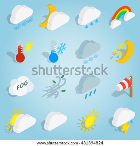 Isometric weather icons set vector illustration