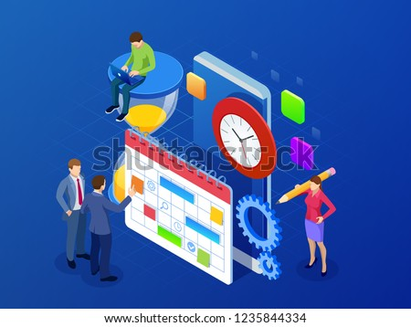 Isometric weekly schedule and calendar planner organization management. Online app business workflow, time management, planning, task app, teamwork and meeting. Vector illustration