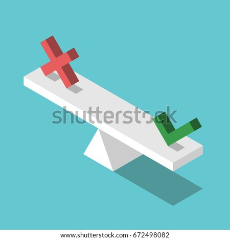 Isometric weight scales weighing red cross and green check mark. Yes and no, choice, decision and uncertainty concept. Flat design. EPS 8 vector illustration, no transparency, no gradients