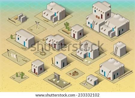 isometric western rural pueblo