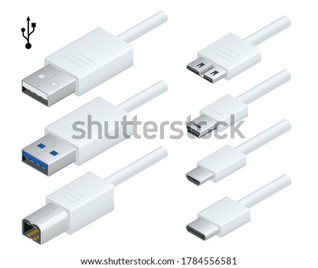 Isometric white usb types port plug in cables set with realistic connectors. Connector and ports. USB type A, type B, type C, Micro, Mini, MicroB and type 3.0