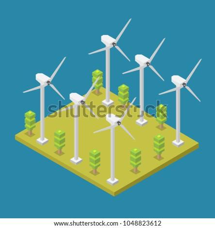 Isometric wind turbine green energy power generation vector elements