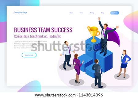 Isometric winner business and achievement concept. Business success. Big trophy for businessmen. #1143014396
