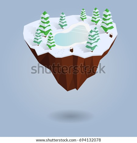 isometric winter floating