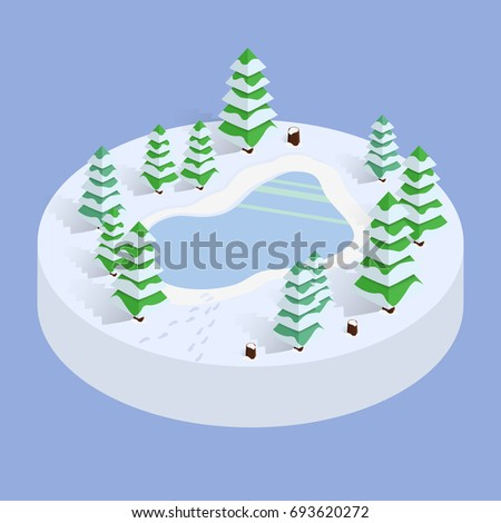 isometric winter landscape with