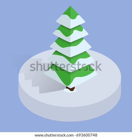 isometric winter low poly
