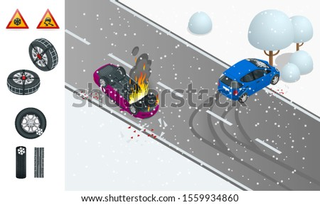 isometric winter slippery road