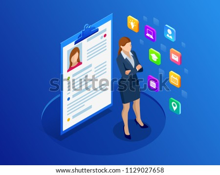 Isometric woman and cv resume documents. Recruiting advertisement, Job opportunity. Searching professional staff, work, analyzing resume, documents papers