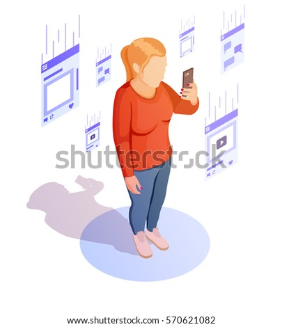 Isometric woman browse news feed with smartphone