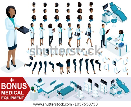 Isometric Woman Doctor African American, create your 3D surgeon, sets of gestures of the feet, hands and emotions. Bonus medical equipment, set 2.