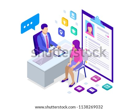 Isometric woman during job interview. Male office worker in business suit sitting at desk with laptop and female colleague. Positive first impression on job interview