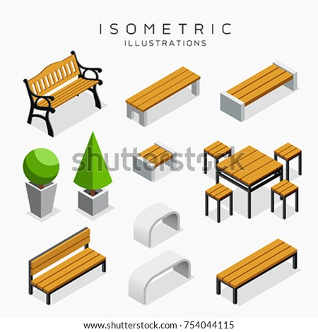 Isometric wooden bench collection isolated on white background, vector illustration