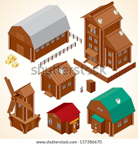 Isometric Wooden Houses. Rural House, Log Cabin, Wood Windmill, Rustic Outhouse, Farm Barn and Large Cottage. Vector Clip Art