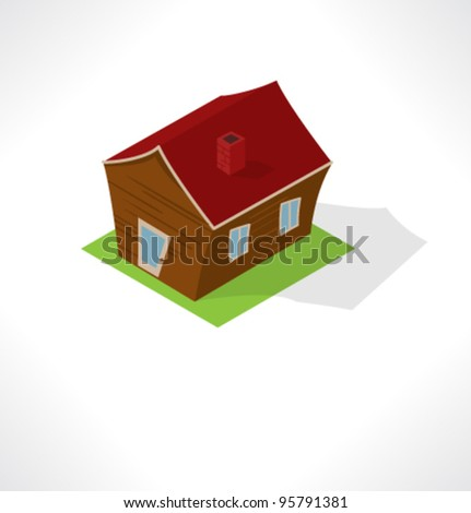 Isometric wooden shed.
