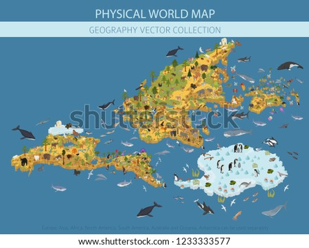 Isometric world flora and fauna map constructor elements. Animals, birds and sea life isolated big set. Build your own geography infographics collection. Vector illustration