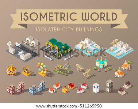 Isometric World. Set of Isolated Minimal City Buildings.