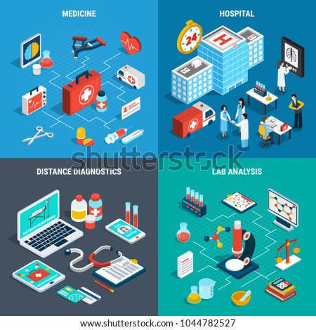Isometric 2x2 design concept with medical analysis and diagnostics equipment isolated on colorful background 3d vector illustration