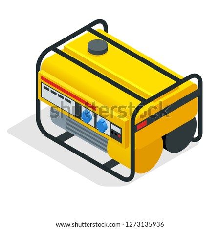 Isometric yellow Gasoline Generator. industrial and home immovable power generator. Diesel electric generator on outdoor vector illustration