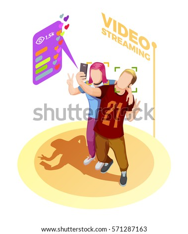 Isometric young couple take a streaming video