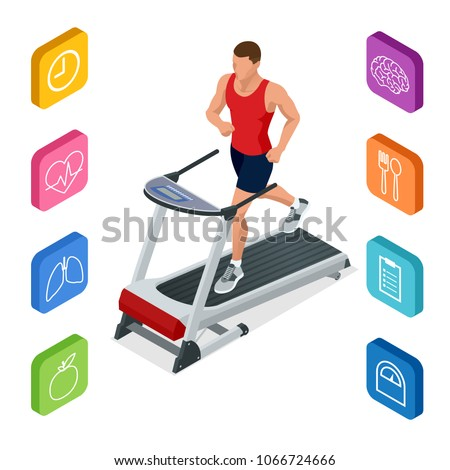 Isometric young man in sportswear running on treadmill at gym. Fitness and Health icons. Running machine or track