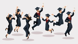 Isometrics graduates girls and boys, jump, academic robes, hats, rejoice, diplomas, graduates. Set of funny characters