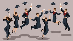 Isometrics graduates girls and boys, jump, academic robes, hats, throw up, diplomas. Set of funny characters