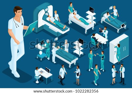 Isometrics medicine, Doctor, paramedic, large surgeon, medical devices, diagnostics, treatment, a large set of medical equipment