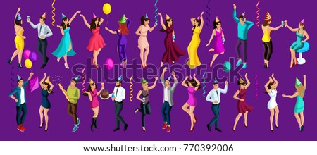 Isometry celebratory party, 3d girls and men dancing, birthday, dancing, festive accessories, cake, gifts serpentine, firework