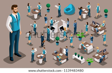 Isometry set, bank icons with bank employees, men bank employee, customer service manager. Financial structure, banking business