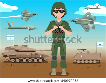 Israel defense forces army banner or poster. IDF male soldier also battle tanks & jets plane in a Israel desert