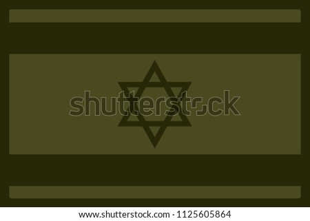 Israel Flag Morale Patch Olive Drab Green. Vector.