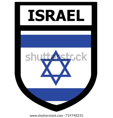 Israel Flag Shield Patch. Vector.