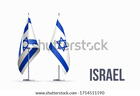 Israel flag state symbol isolated on background national banner. Greeting card National Independence Day of the State of Israel. Illustration banner with realistic state flag.