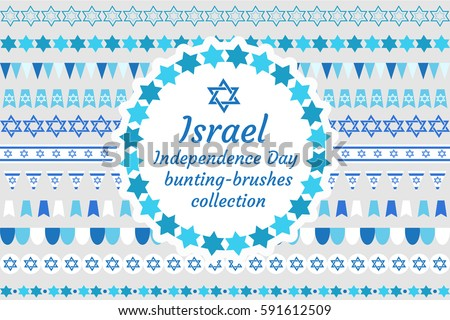 Israel Independence Day bunting-brushes collection. Jewish holiday brush, border, flag, ornament set. Vector illustration