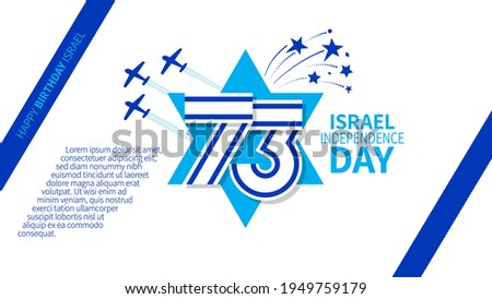 Israel independence day vector illustration with flag, planes and firework. National day of Israel design template for cards, poster, invitation, website Stockfoto ©