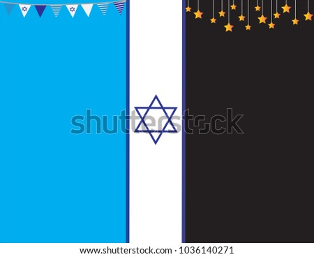 Israel memorial day and independence day banner. Sadness to happiness