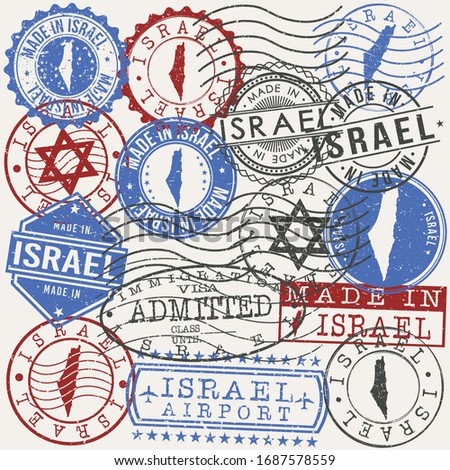 Israel Set of Stamps. Travel Passport Stamps. Made In Product. Design Seals in Old Style Insignia. Icon Clip Art Vector Collection.
