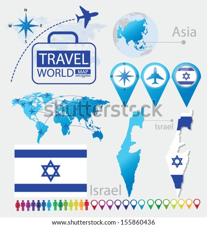 Israel. State of Israel. flag. Asia. World Map. Travel vector Illustration.
