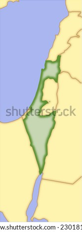 Israel, vector map, with borders of surrounding countries. 5 named layers, fully editable.