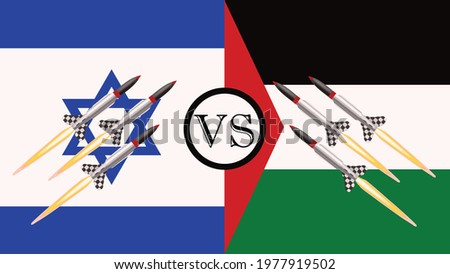 Israel VS Palestine War - Israel and Palestine conflict - Israeli missiles VS Palestinian missiles Concept. The flag of Israel and Palestine with missiles in both directions symbolizes the war. Stock photo ©