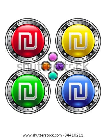 Israeli shekel currency icon on round colorful vector buttons suitable for use on websites, in print materials or in advertisements.  Set includes red, yellow, green, and blue versions.