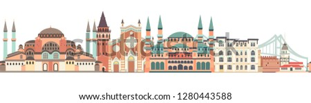 Istanbul City colorful skyline vector seamless pattern. Famous Istanbul building