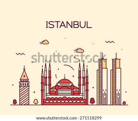 istanbul city skyline detailed
