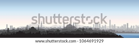 Istanbul city skyline. Travel Turkey background. Turkish urban cityscape