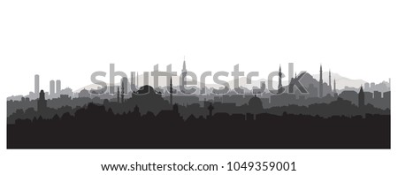 Istanbul city skyline. Travel Turkey background. Urban panoramic view. Cityscape with famous building silhouette