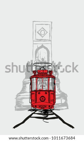istanbul istiklal street tram  graphic design vector art