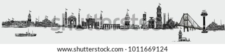 istanbul silhouette graphic design vector art
