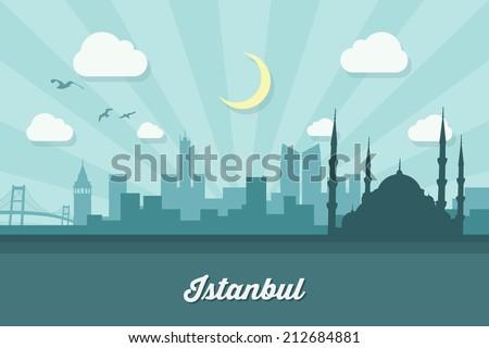 istanbul skyline   flat design