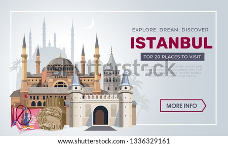 Istanbul travel banner design template. Turkey vacation and Travel concept. Istanbul travel destinations. Vector travel illustration for Turkey.