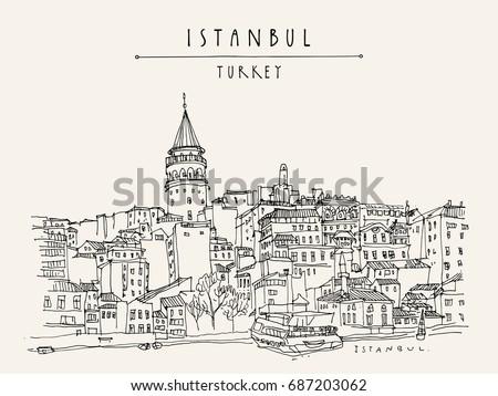istanbul  turkey. galata tower  ...